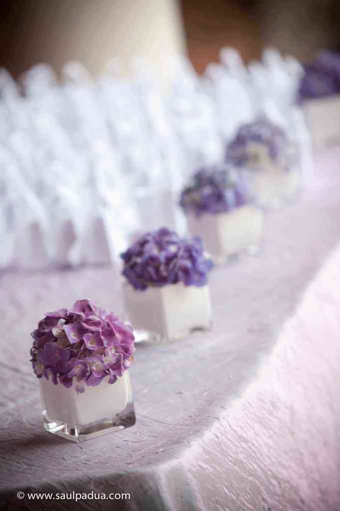 lavender hydrangeas for entrance table