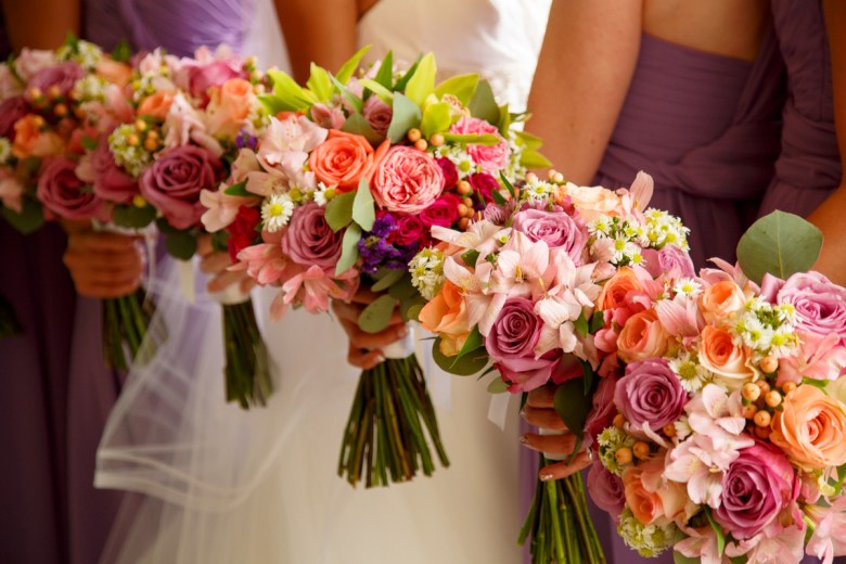 multi color bridesmaid bouquets