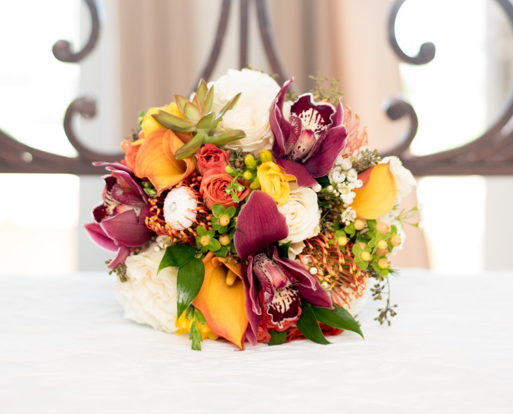 colorful exotic flowers wedding boquuet