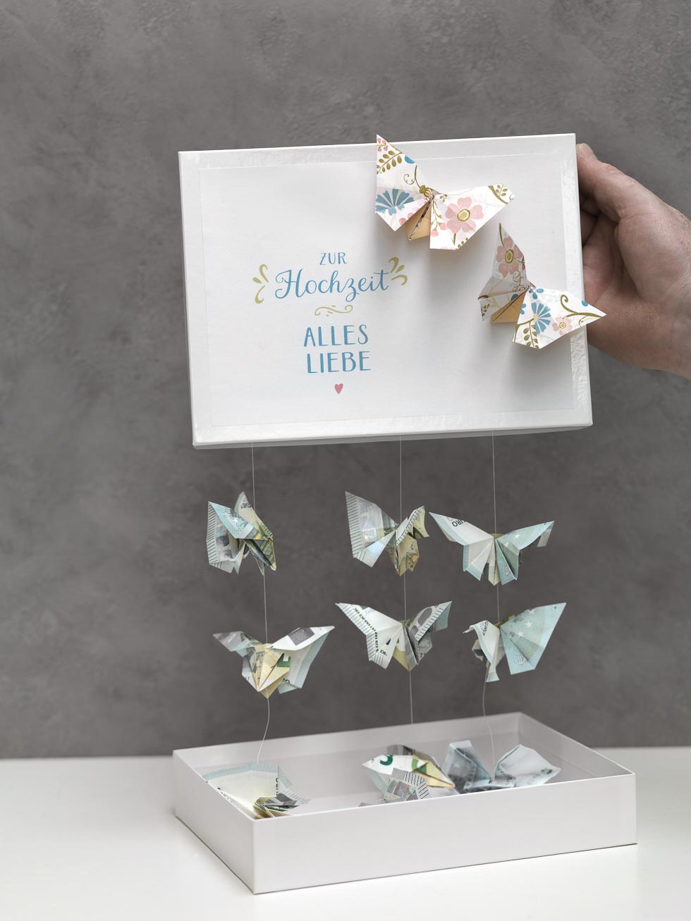 Schmetterlinge aus Geld falten