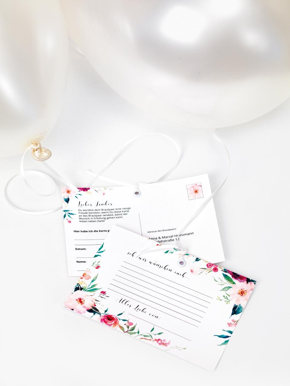 Vorlagen Ballonflugkarten fr eure Hochzeit