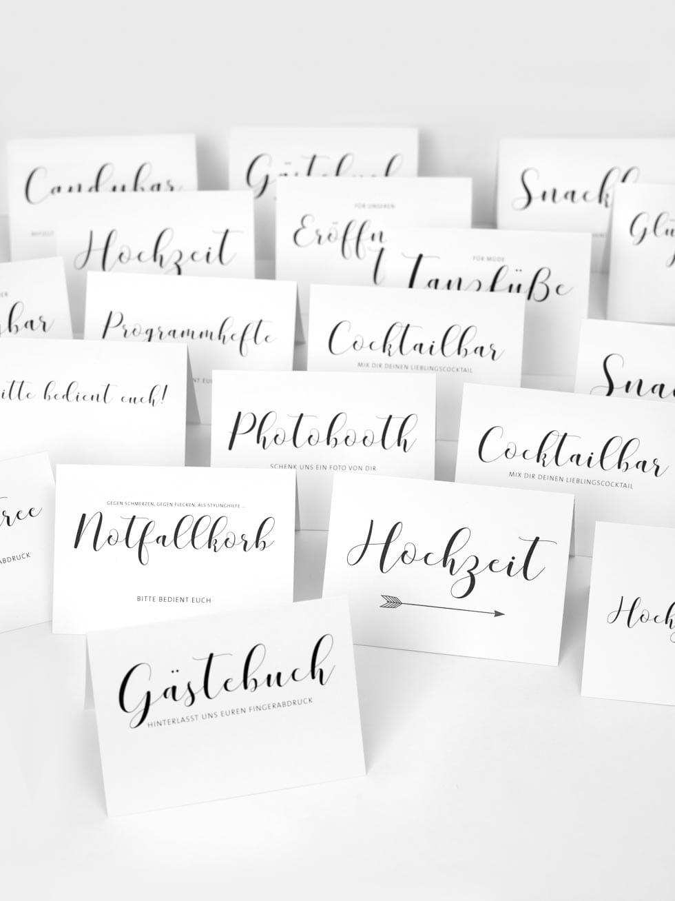 Vorlagen Schilder Hochzeit 19 Schilder mit Calligraphie
