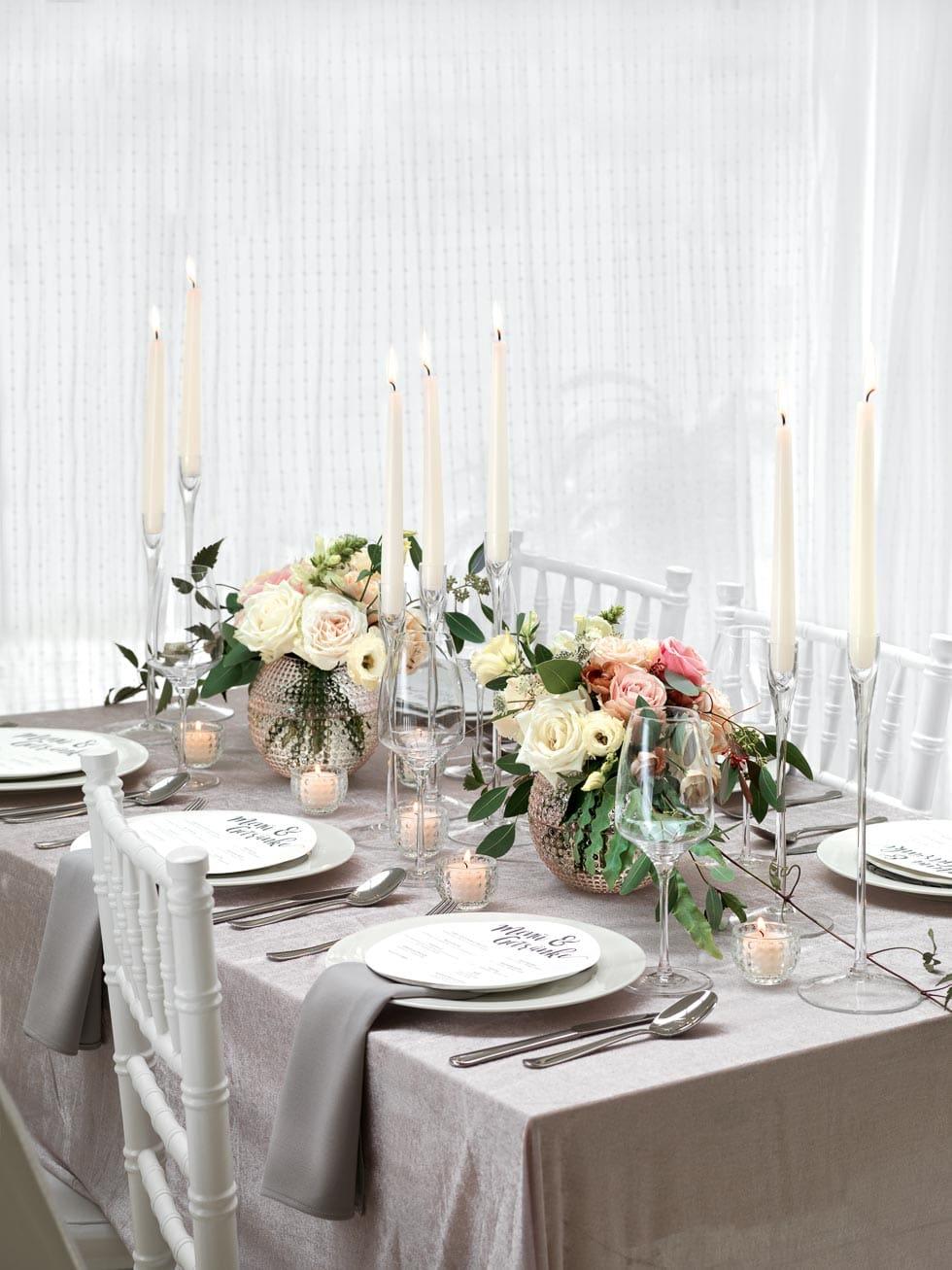 Festliche Tischdekoration Hochzeit