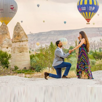The magical backdrops & hot air balloons of Cappadocia played starring roles in this wedding proposal.