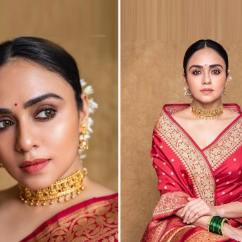 Get Amruta Khanvilkar's traditional chic makeup look in a few easy steps!