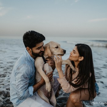 This pawdorable engagement shoot included the couple's fur baby