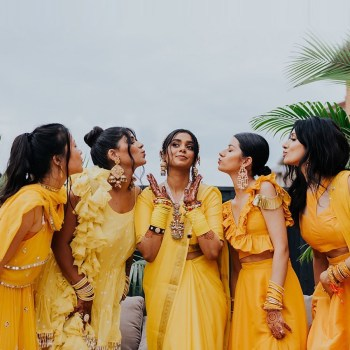 Designer Mani Jassal's bridesmaids set squad goals in coordinated couture pieces from her label