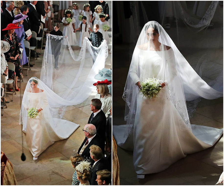Meghan Markle's flowing 15-ft silk tulle train and floral embroidered veil