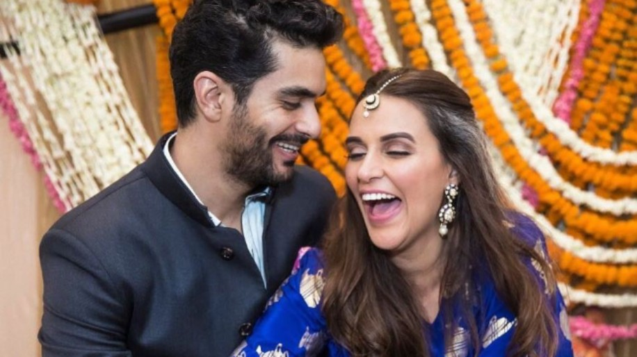 Neha Dhupia in Royal Blue Fish Khadi Kaftan dress from the House of Masaba for Mehndi