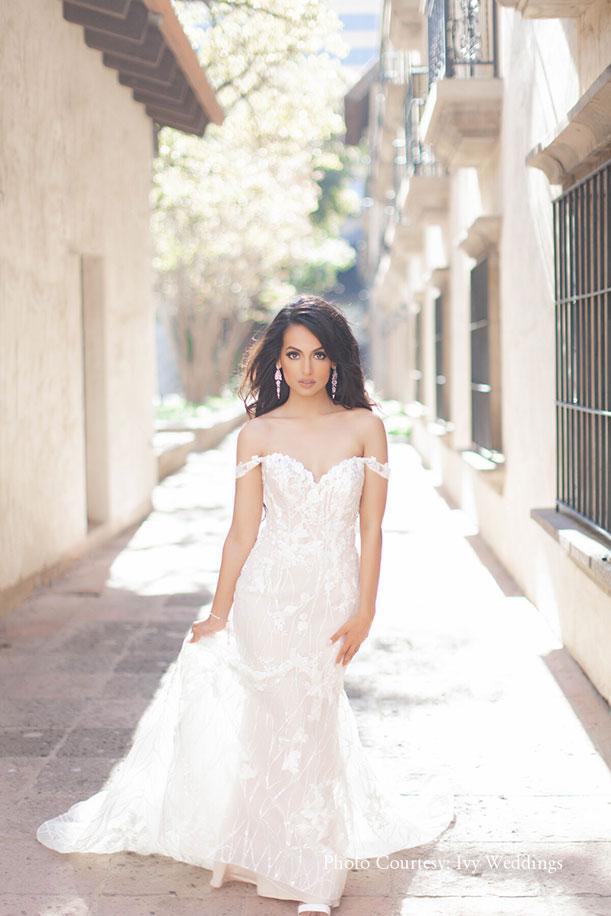 mermaid cut white gown