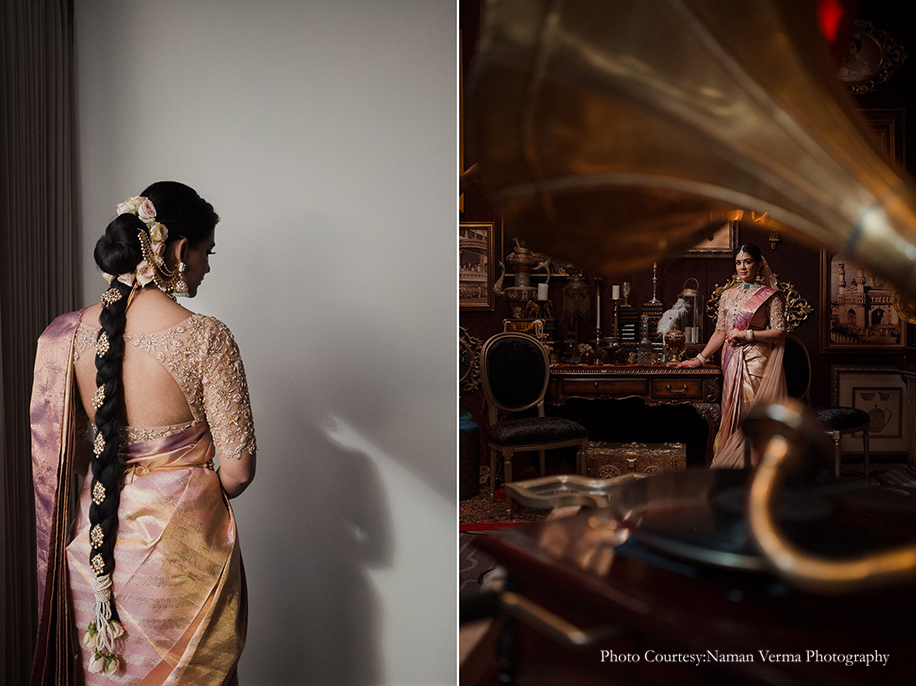 Bride wearing mauve silk saree for her big day at US