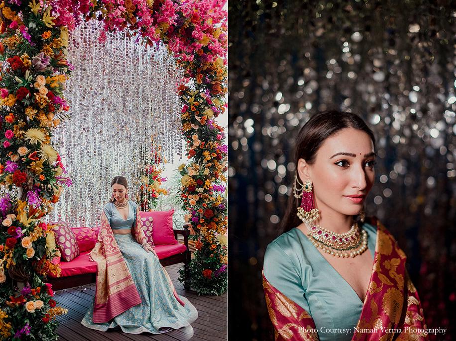 lehenga by designer Kshitij Jalori and rose zari dupatta