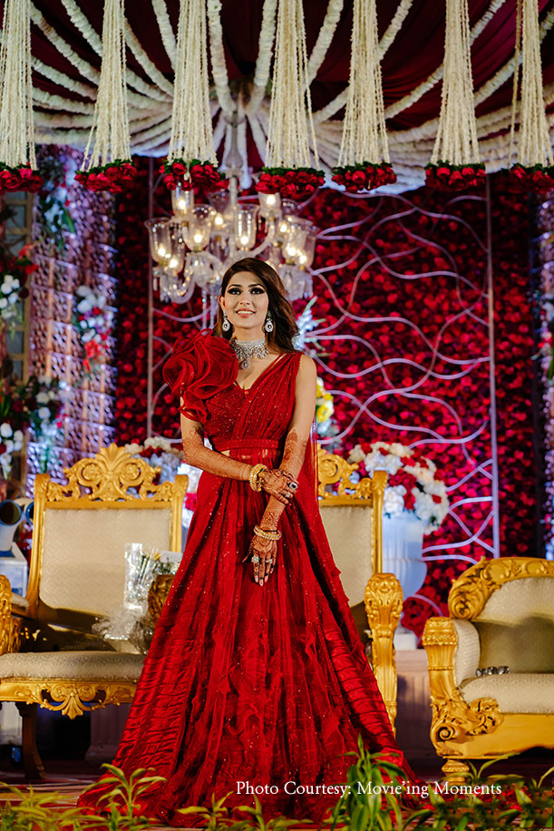 red gown by Sulakshna Monga