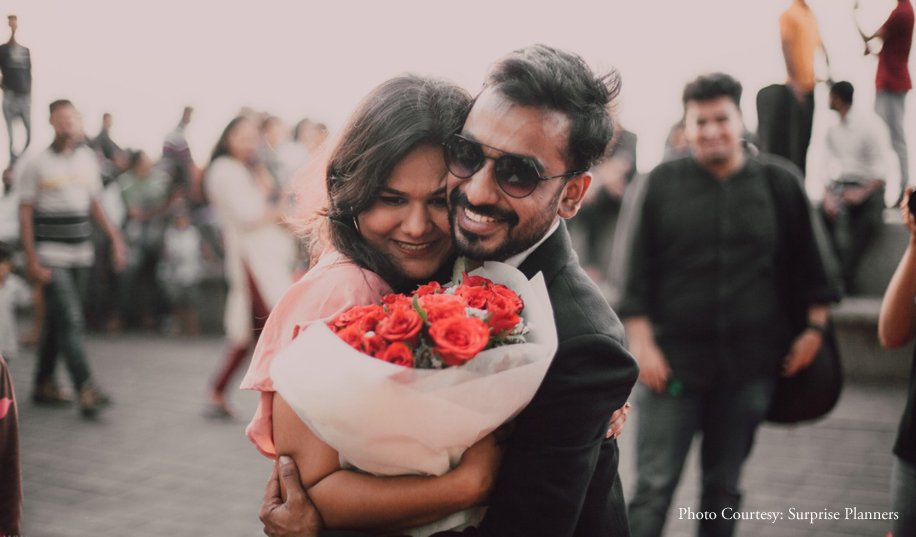 A surprise proposal at sunset, on the Marine Drive promenade in Mumbai