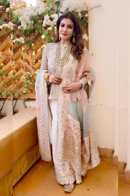 Raveena Tandon in Anamika Khanna at Isha Ambani's pre-wedding celebrations