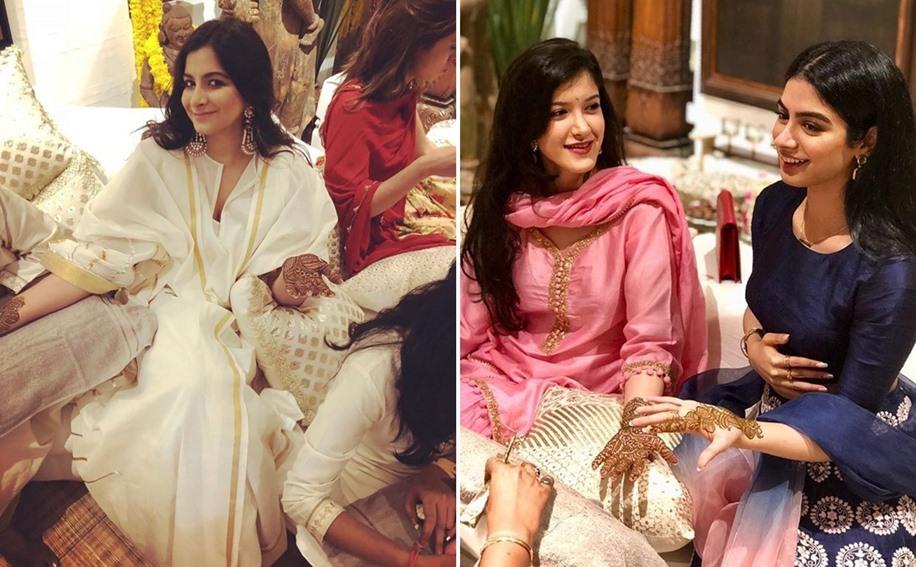 Rhea Kapoor, Shanaya Kapoor, Khushi Kapoor at Sonam's Mehdni