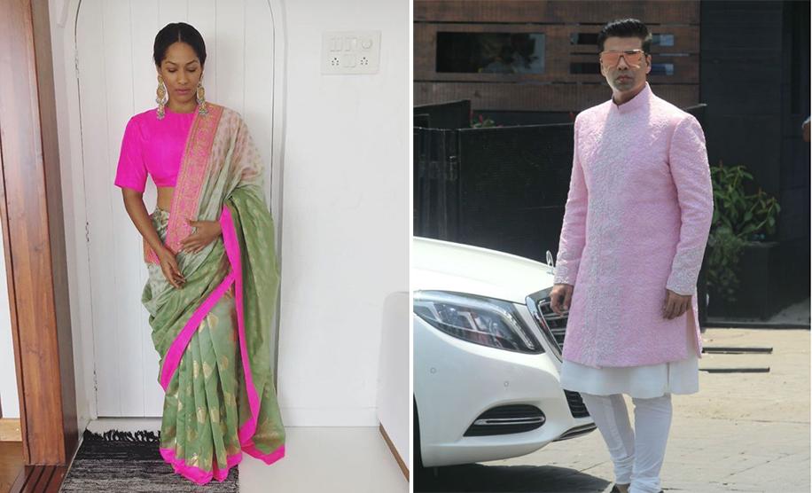 Masaba Gupta and Karan Johar in Manish Malhotra Sherwani at Sonam Kapoor's Wedding