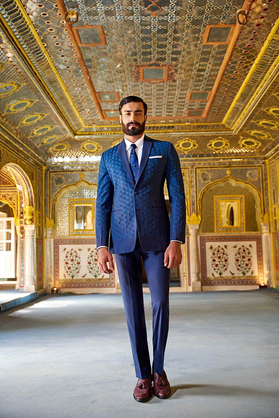 Classic Blue Embroidered Suit