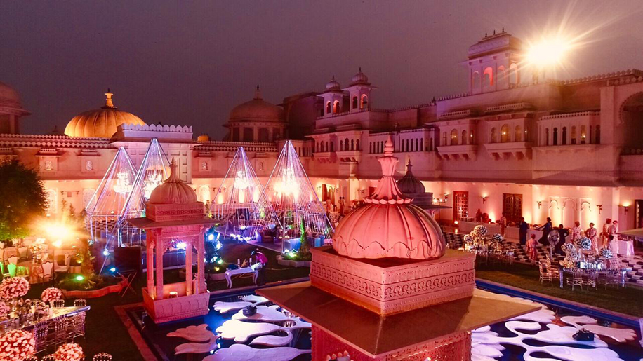 A three-day-long engagement celebration in Udaipur by Evolve Weddings was marked by magnificence