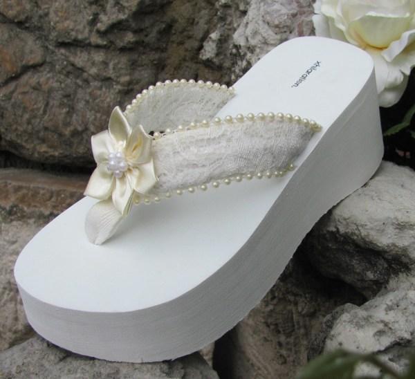 White Platform Flip Flops