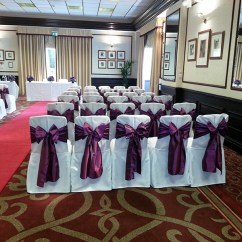 Burgundy Chair Covers Wedding Shower Bed Bath And Beyond Purple Venue Decorators
