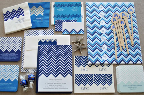 chevron wedding paper goods