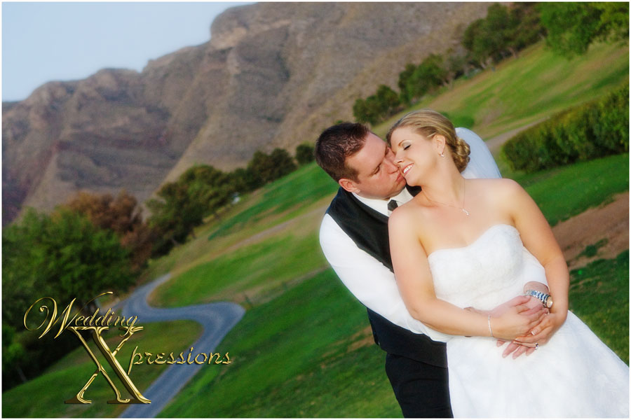bridal couple in golf course