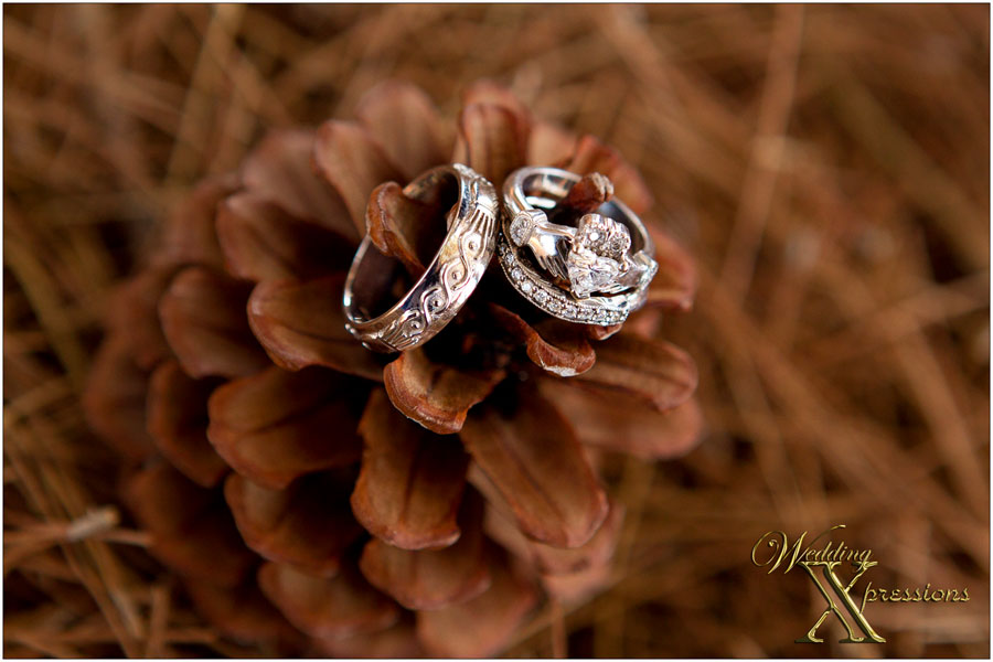 el paso pine cone with wedding rings
