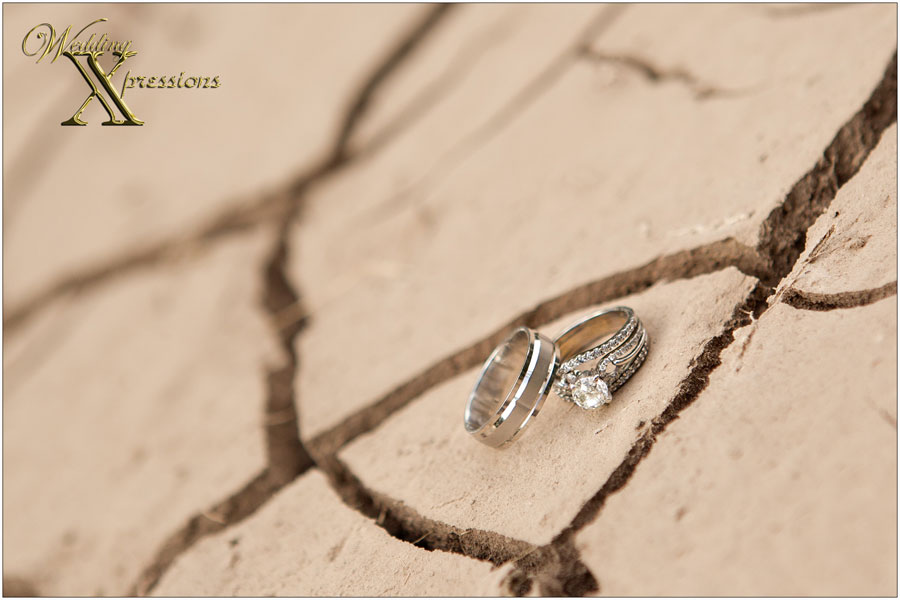 wedding rings on dry cracked ground