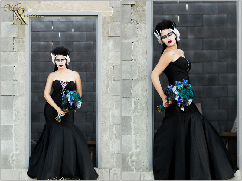 black wedding dress on doorway
