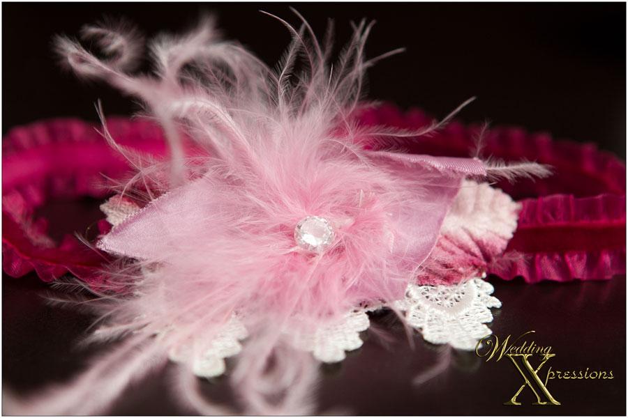 pink bridal garter