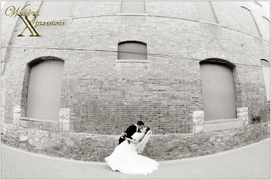 black and white wide angle wedding photography