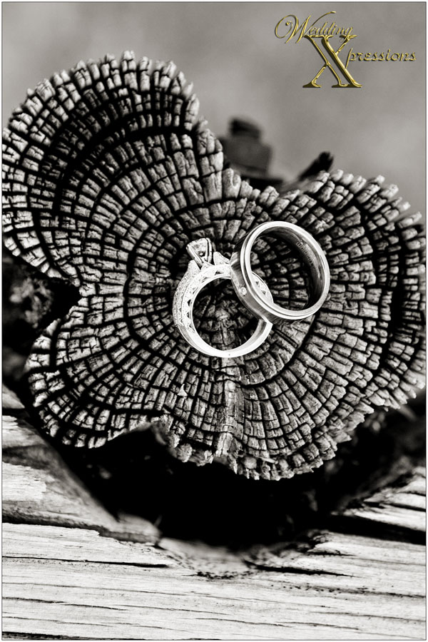 wedding ring in black and white photography on wooden fence