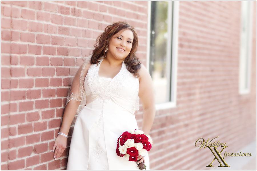 bride Celina on her wedding day