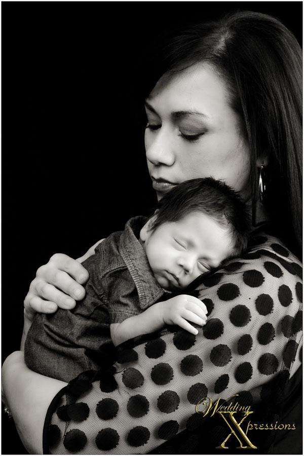black and white newborn photography