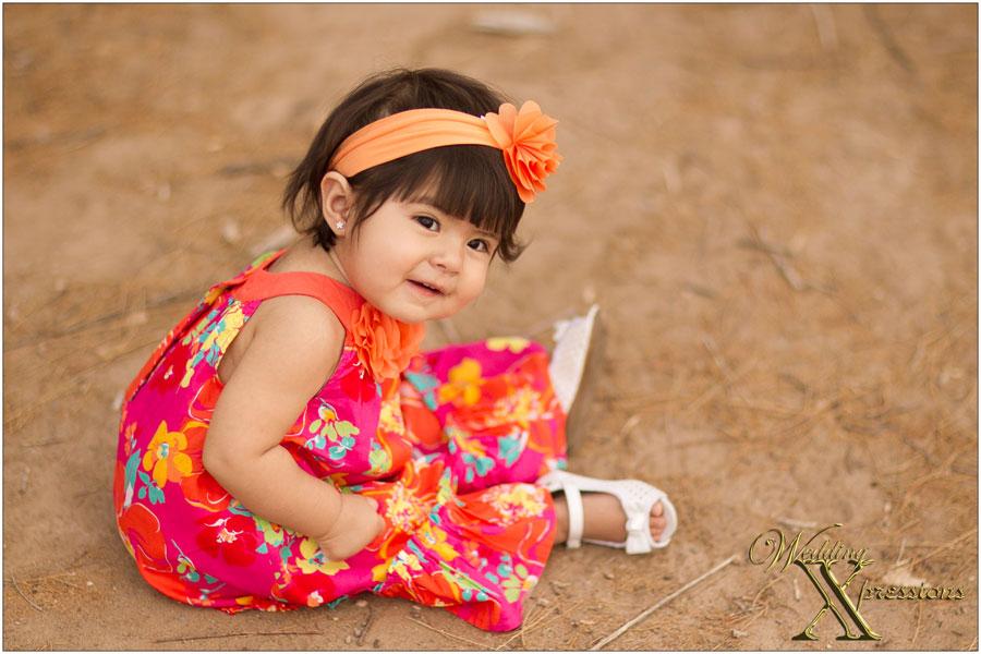 Baby Frandah in hot pink and orange