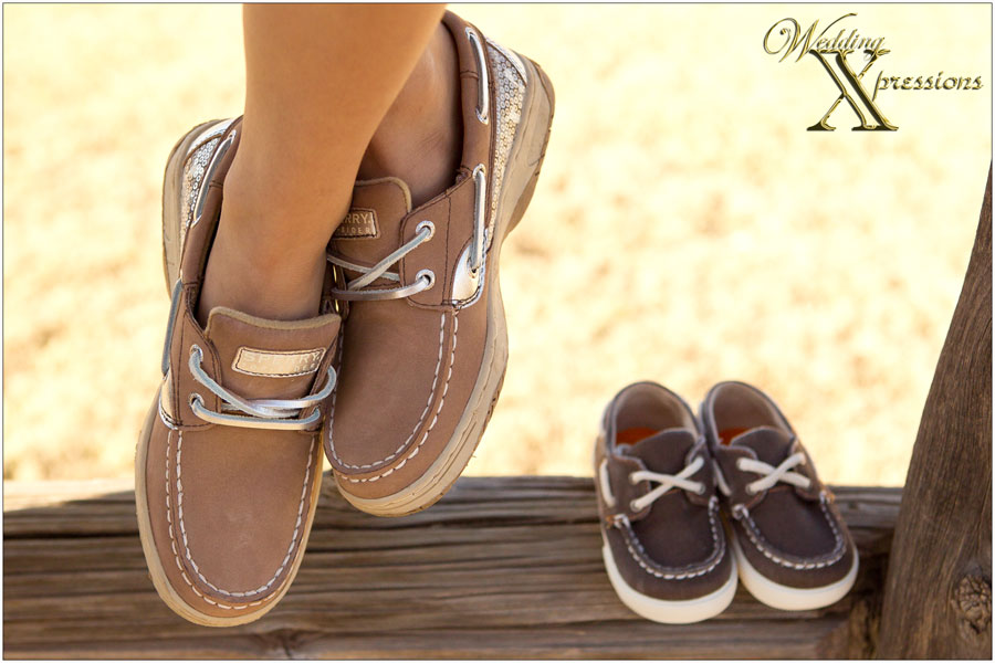 Sister and baby shoes
