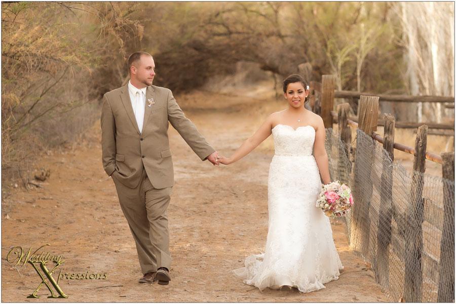 couple walking together on wedding day