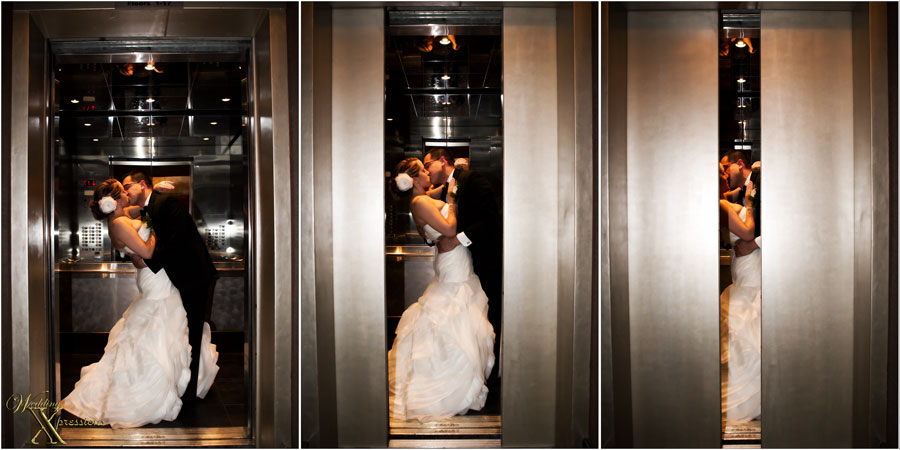 couple leaving in elevator