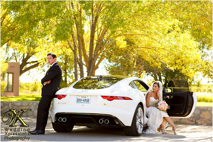wedding couple with Jaguar F-Type