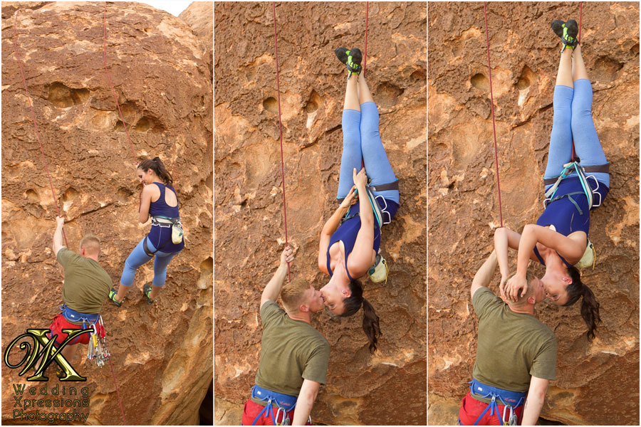 rock climbing engagement couple