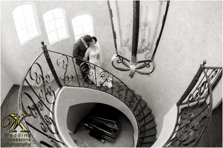 wedding couple on staircase