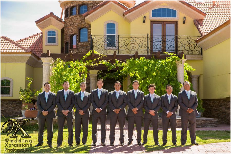 groomsmen in front of home