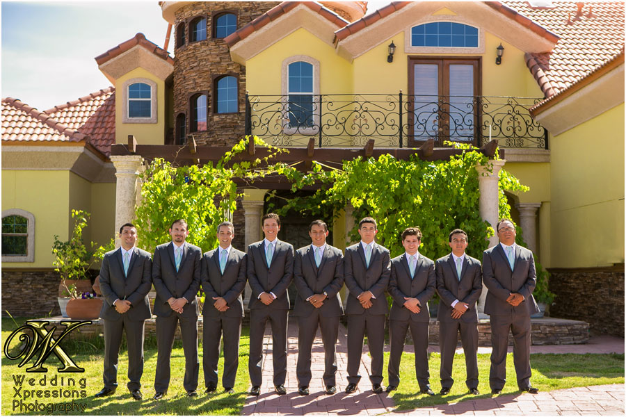 groomsmen in front of home