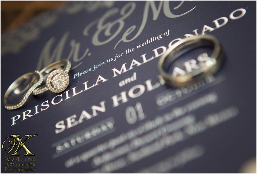 wedding rings on invitation