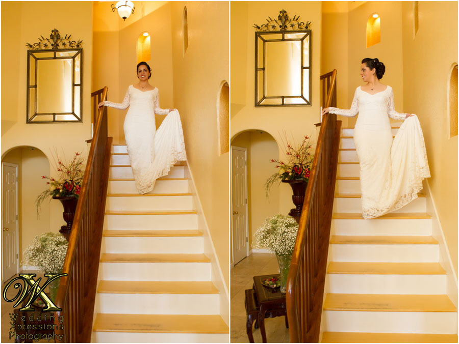 bride walking downstairs at home
