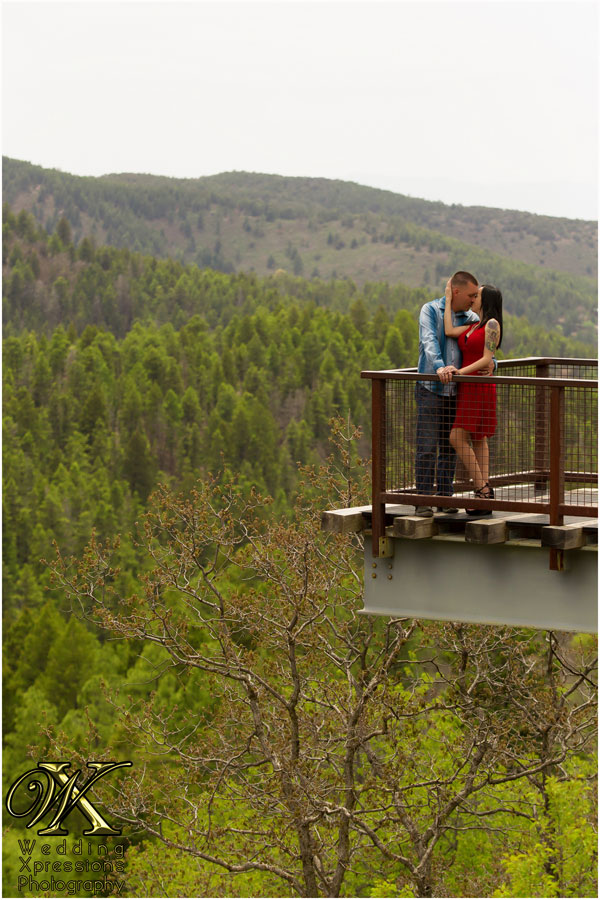 engaged couple over evergreen forest