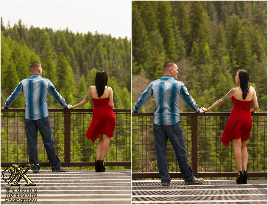 engaged couple overlooking forest below