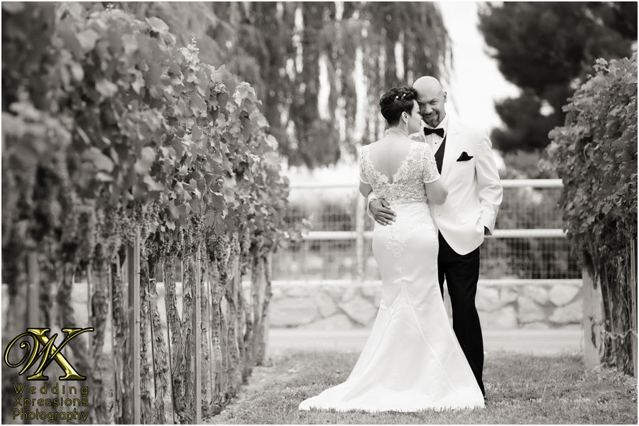 black and white wedding winery photography