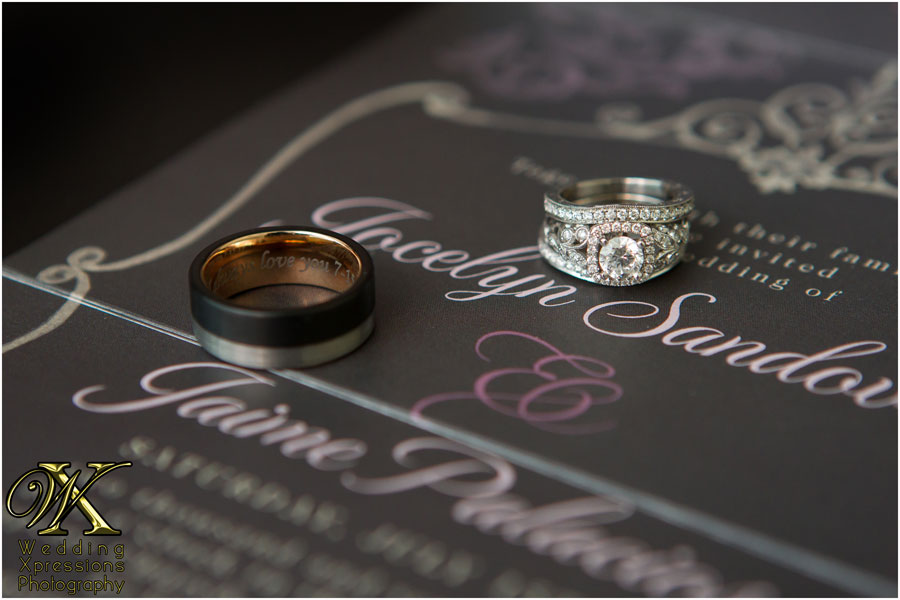 wedding rings on invitation